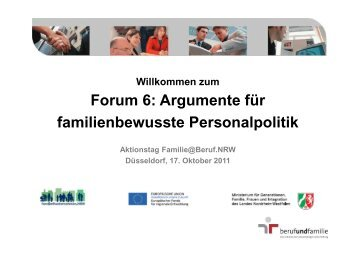 Forum 6: Argumente Für Familienbewusste Personalpolitik ...