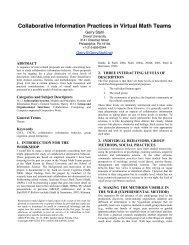 Collaborative Information Practices in Virtual Math Teams - CiteSeer