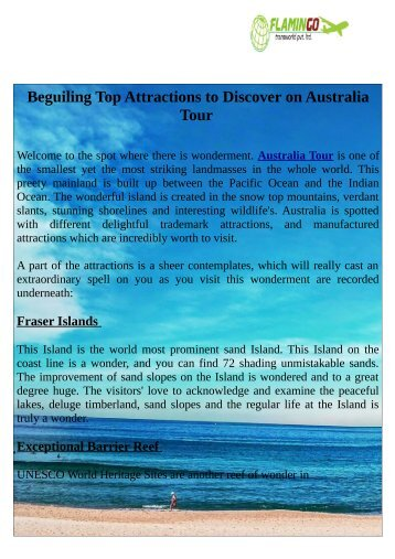 Beguiling Top Attractions to Discover on Australia Tour