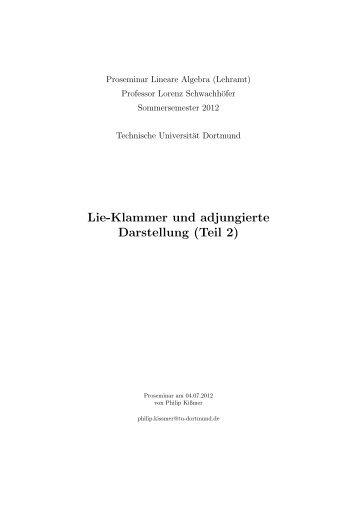 Lie-Klammer und adjungierte Darstellung (Teil 2) - TU Dortmund