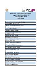 Programa de Servicios SaludArte Ciclo escolar 2016 - 2017 MONITORES