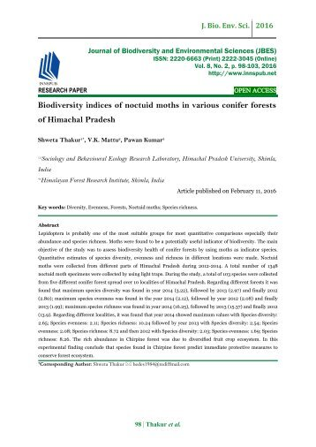 Biodiversity indices of Noctuid Moths in various conifer forests of Himachal Pradesh