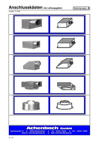 Anschlusskästen (für Lüftungsgitter) - Achenbach GmbH