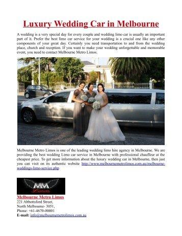 Luxury Wedding Car in Melbourne