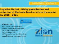 Logistics Market : Rising globalization and reduction of the trade barriers drives the market by 2015 - 2021
