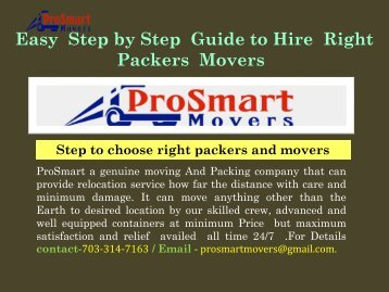 Movers in Maryland| ProSmart Movers