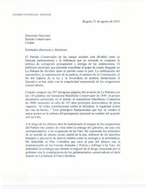 Carta por el NO al Directorio Nacional Conservador