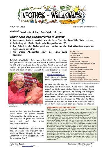 Infothek Waldkinder - Waldstart bei PuraVida Natur in Knonau