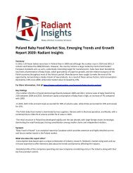 Poland Baby Food Market Emerging Trends and Growth Report: Radiant Insights