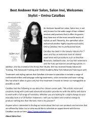 Best Andover Hair Salon, Salon Invi, Welcomes Stylist – Emina Catalbas