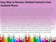 Easy Way to Recover Deleted Contacts from Android Phone