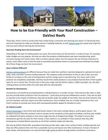 How to be Eco-Friendly with Your Roof Construction – DaVinci Roofs