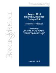 Fr Aug ranklin Col gust 2 n & M lege P 2016 Marsh Poll all