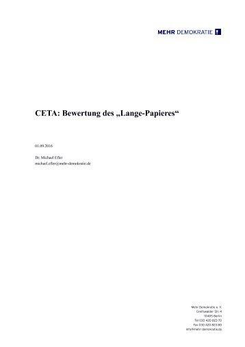 """CETA Bewertung des """"Lange-Papieres"""""""