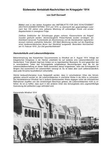 Südwester Amtsblatt-Nachrichten im Kriegsjahr 1914 - Golf Dornseif