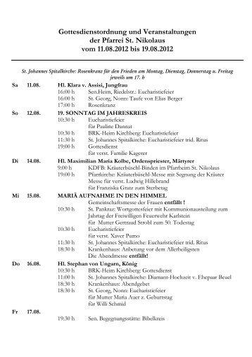 Gottesdienstordnung St. Nikolaus 11.08.2012 - Katholische ...
