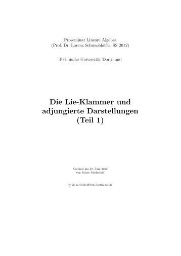 Die Lie-Klammer und adjungierte Darstellungen (Teil ... - TU Dortmund