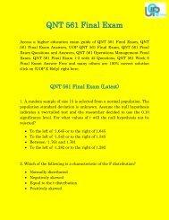 UOP E Help : QNT 561 - QNT 561 Final Exam Answers Free