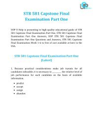 UOP E Help : STR 581 Capstone Final Examination Part One Answers Free