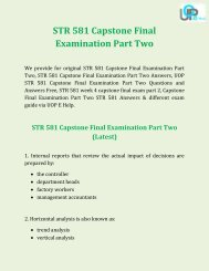 UOP E Help - STR 581 Capstone Final Examination Part Two Answers Free