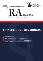 RA 09/2016 - Entscheidung des Monats