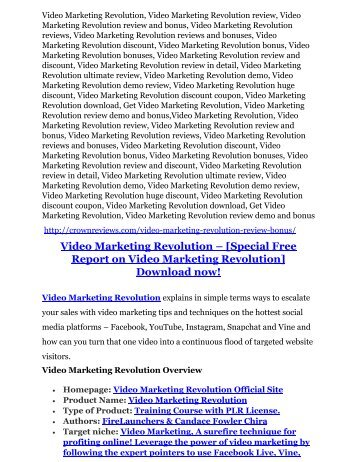 Video Marketing Revolution Review – (Truth) of Video Marketing Revolution and Bonus