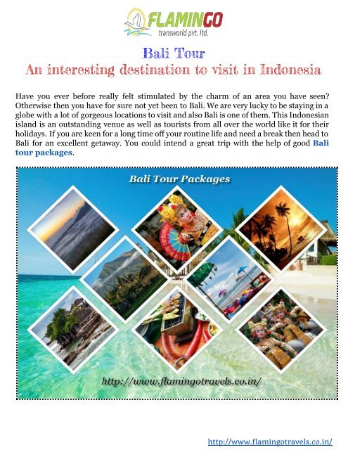 Bali Tour Packages An Interesting Vacation Spot To Go To In