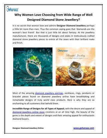 Why Women Love Choosing from Wide Range of Well Designed Diamond Stone Jewellery