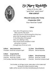 St Mary Redcliffe Church Pew Leaflet - 4 September 2016