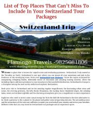 List of top places that can't miss to include in your switzerland tour packages