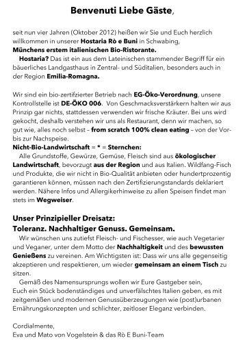 Speisekarte (2.9.16) - Bio-Ristorante Hostaria Rò E Buni München