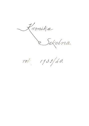 Kronika Szkoły Powszechnej w Białobrzegach 1939-1952