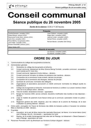 Séance publique du 26 novembre 2005 - Pétange