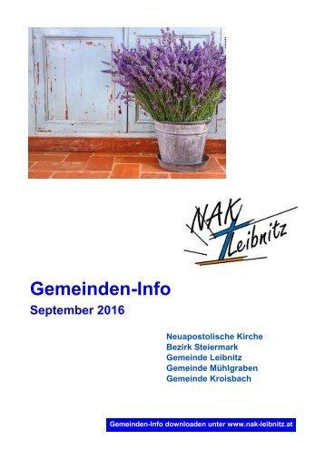 Gemeinden-Info September-Oktober 2016