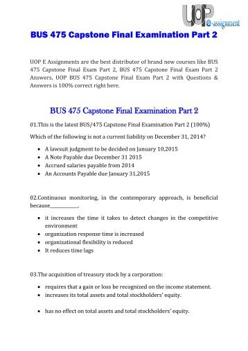 capstone exam part 2 Str 581 capstone examination part 2 : this covers the str 581 capstone final examination part 2 answers for university of phoenix this is an a+ rated tutorial and latest final exam available.