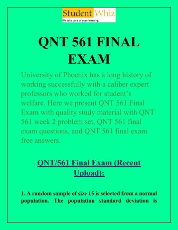 QNT 561 Final Exam - QNT 561 Final Exam Answers | Studentwhiz.com