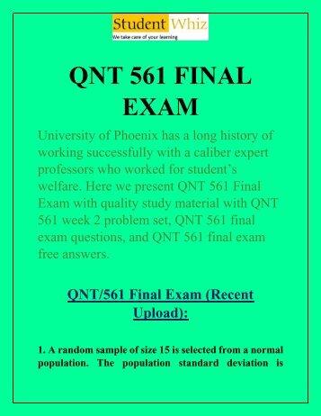 QNT 561 Final Exam - QNT 561 Final Exam Answers | Studentwhiz.com
