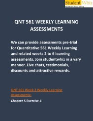 QNT 561 Weekly Learning Assessments | QNT 561 Weekly Learning Assessments Answers | Studentwhiz