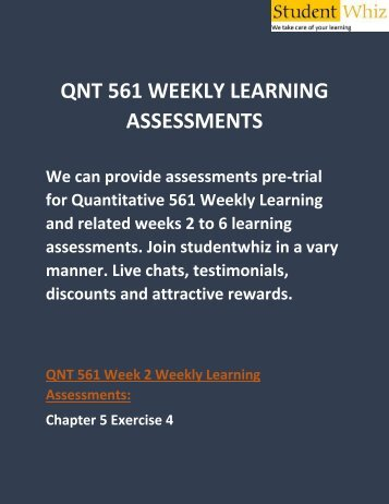 QNT 561 Weekly Learning Assessments   QNT 561 Weekly Learning Assessments Answers   Studentwhiz