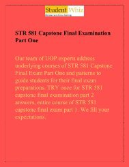 STR 581 Capstone Final Exam Part One/1 | STR 581 Capstone Part 1 Answers - Studentwhiz