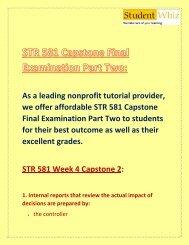 STR 581 Capstone Final Exam Part Two/2   STR 581 Capstone Final Exam Part 2 Answers - Studentwhiz