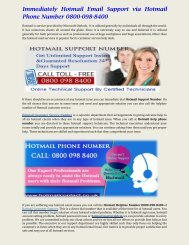 Immediately Hotmail Email Support via Hotmail Phone Number 0800-098-8400