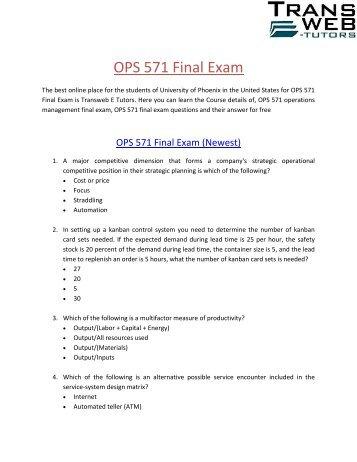 Univeristy of phoenix ops 571 final exam