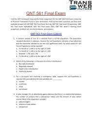 QNT 561 Final Exam - QNT 561 Final Exam Justanswer - Transweb E Tutors