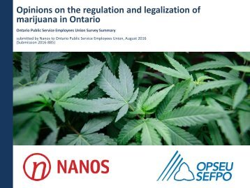 Opinions on the regulation and legalization of marijuana in Ontario