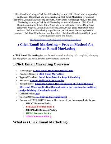 1 Click Email Marketing review and (MEGA) bonuses – 1 Click Email Marketing