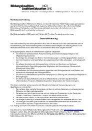 Mandatsausschreibung Bildungskoalition NGO