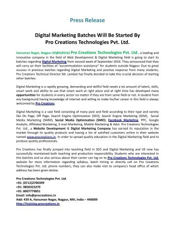 Digital Marketing Batches Will Be Started By Pro Creations Technologies Pvt. Ltd.