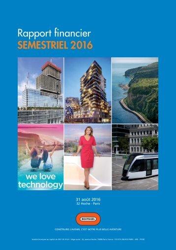 Rapport financier SEMESTRIEL 2016