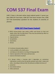COM 537 Final Exam Questions & Answers Through By UOP E Tutors